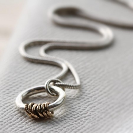 Gold and Silver Milestone Ring Necklace
