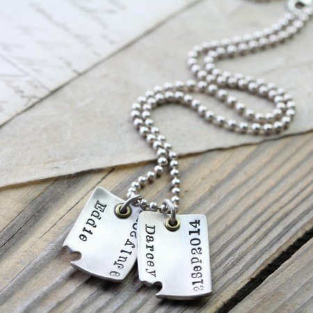 'Piece Of My Heart' Curved Dog Tags