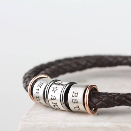 Leather and Silver Story Bead Bracelet