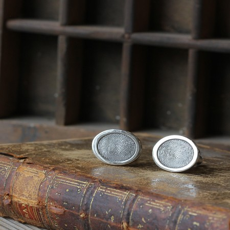 Inked OVAL Fingerprint Cufflinks