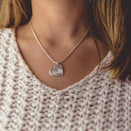 Inked Fingerprint Heart Charm Necklace