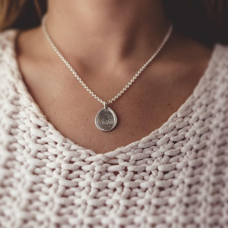 Inked Fingerprint Teardrop Pendant on a Silver Chain