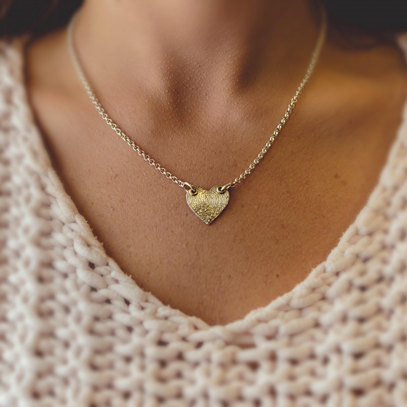 """Inked """"Winged"""" Fingerprint Heart  on a Silver Chain"""