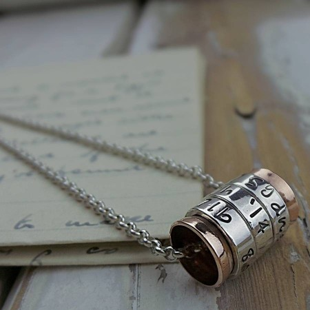 Silver and Copper Spinning Ring Necklace