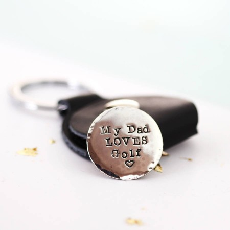 Personalised Silver Golf Marker with Leather Holder