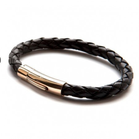 Luxury Rose Gold and Black Leather Bracelet