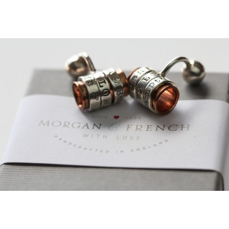 Copper and Silver Personalised Cufflinks