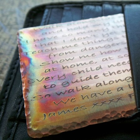 Distressed Copper Wallet Message Card