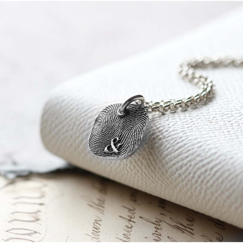 Inked Fingerprint Monogram Rounded Square Necklace