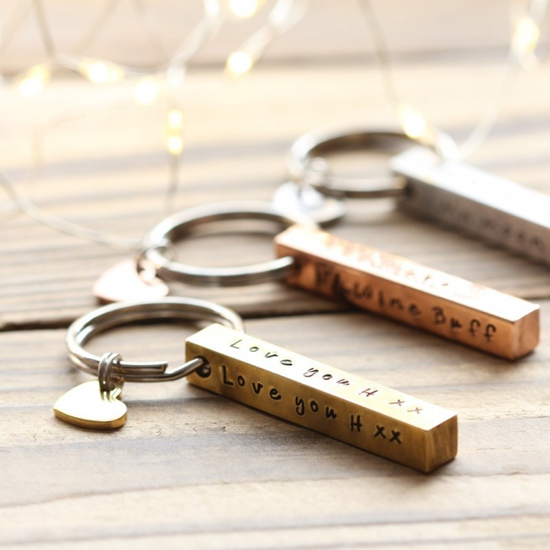 Personalised Brass Bar Keyring