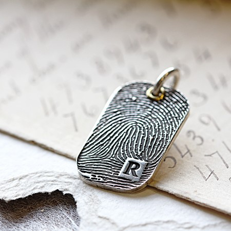 Individual INKED Fingerprint Dog Tag Pendant, allover print with Initial