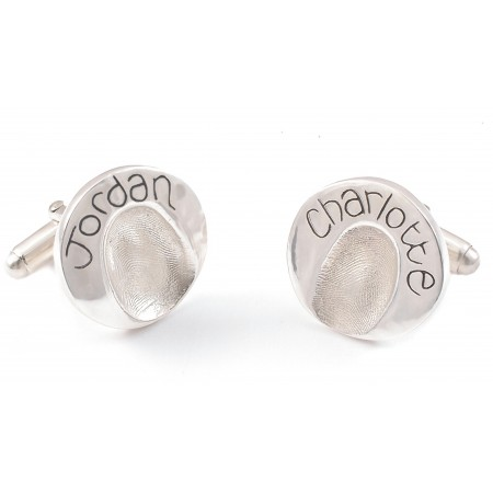 Fingerprint Impression Circle Cufflinks