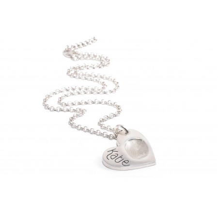 FingerPrint Heart Pendant On a Silver Chain