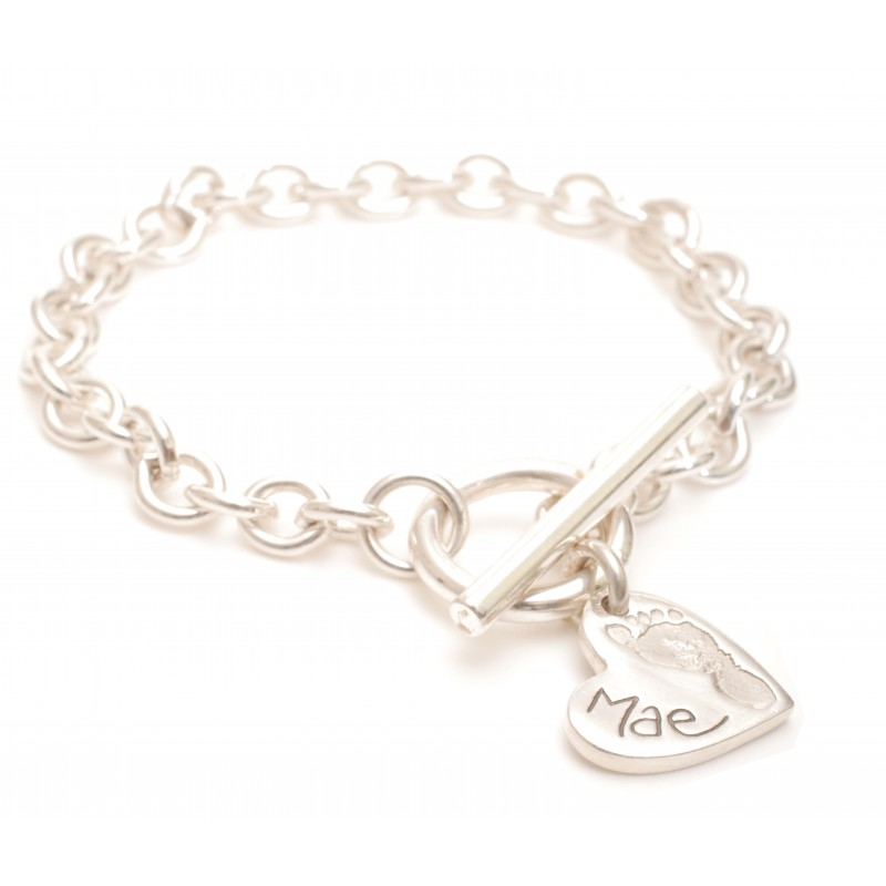Heart Ten Tiny Toes  Charm T-Bar Bracelet