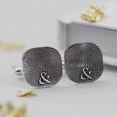 Inked Monogram Rounded Square Fingerprint Cufflinks