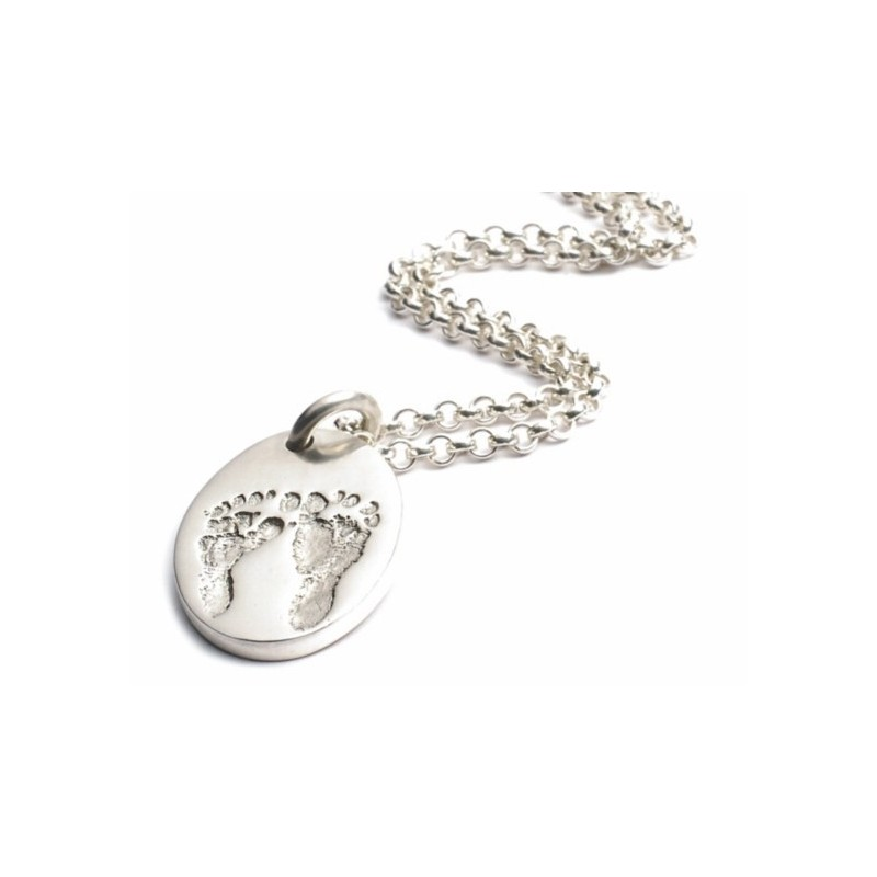 Ten Tiny Toes Oval Pendant on a Silver Chain