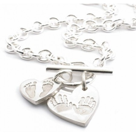 """Heart """"Ten Tiny Toes"""" Charm T-Bar Necklace"""