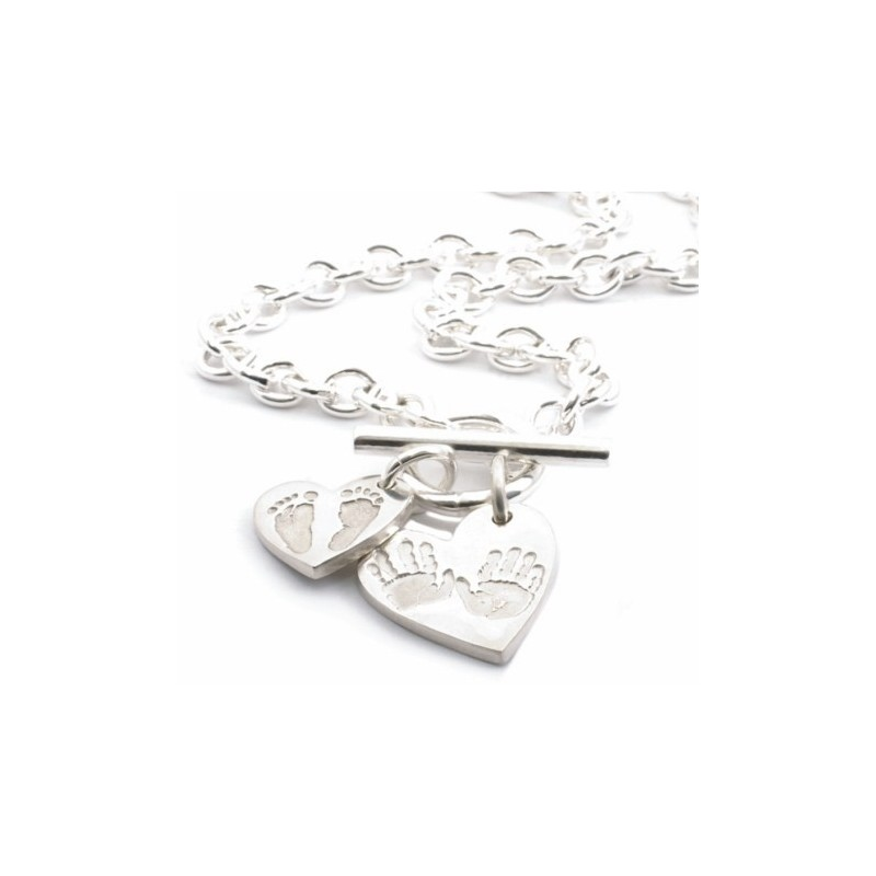 "Heart ""Ten Tiny Toes"" Charm T-Bar Necklace"