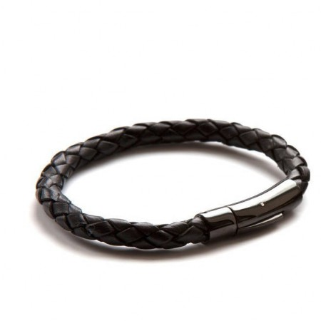 Luxury Black On Black Leather Bracelet