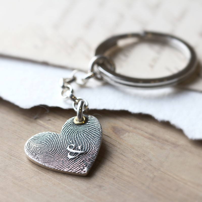 Inked Fingerprint Heart Keyring