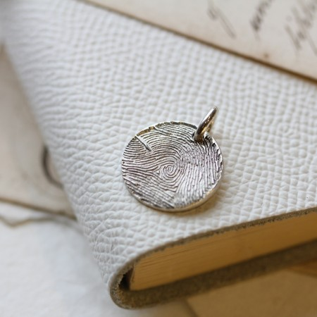 Individual Inked Fingerprint Rounded Square Charm