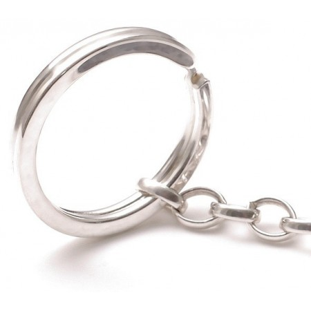Stainless Steel Keyring with Sterling Silver Chain