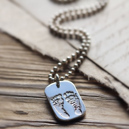 Ten Tiny Toes Dog Tag Pendant on a Silver Chain