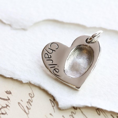 Fingerprint Impression Heart Pendant