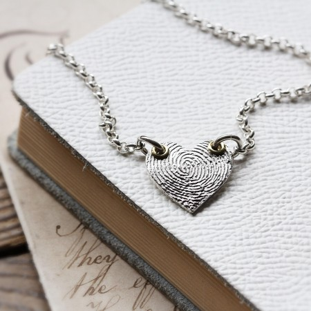 "Inked ""Winged"" Fingerprint Heart  on a Silver Chain"
