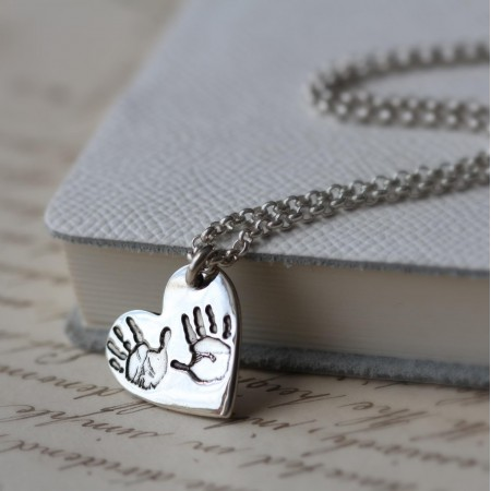 Ten Tiny Toes Heart Pendant on a chain