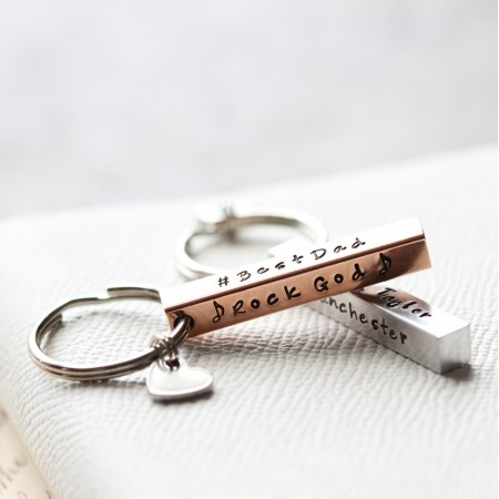 Personalised Copper Bar Keyring