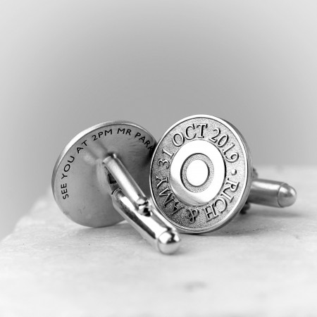 Bullet Personalised Silver Cufflinks