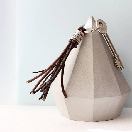 Personalised Double Row Leather Tassel Keyring