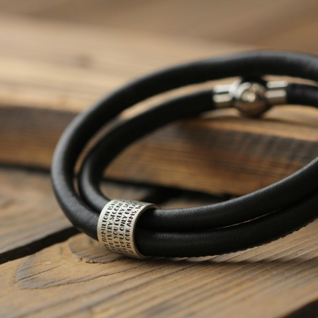 Chapter & Verse Story Bead Bracelet on Black Nappa Leather