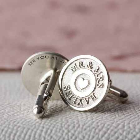 Deep Engraved Personalised Silver Cufflinks