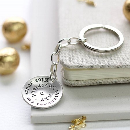 Personalised Silver Domed Keyring