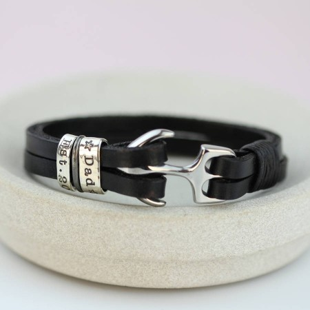 You Are My Anchor Personalised Leather Bracelet