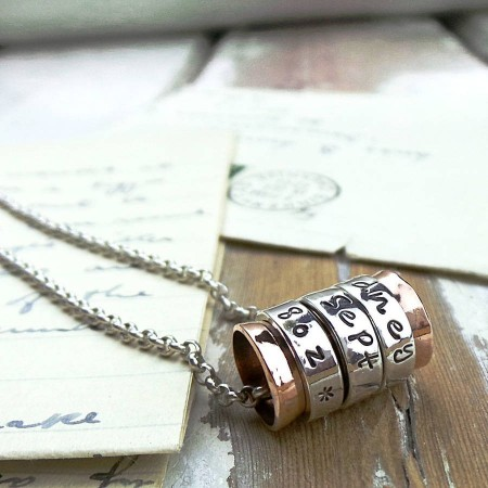 Silver and Copper Spinning Ring Pendant