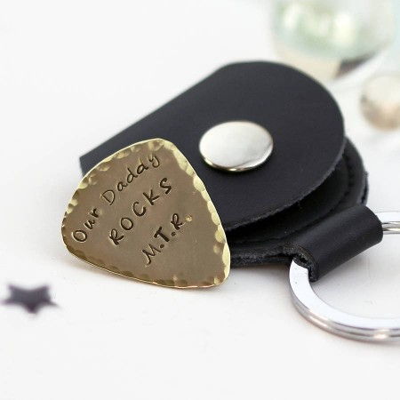 Personalised Brass Plectrum With Leather Keyring Case