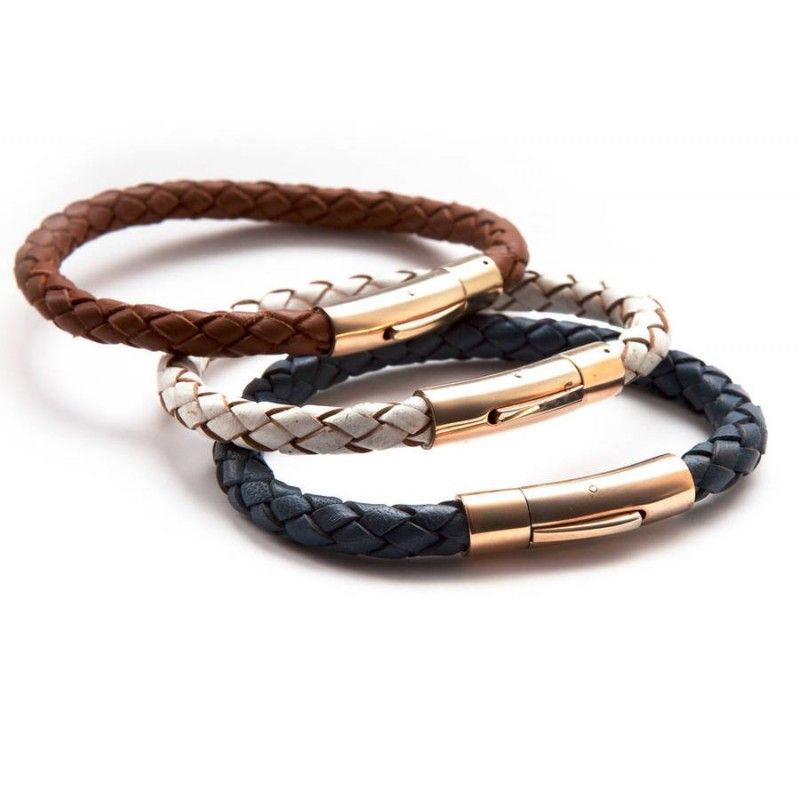 Luxury Leather and Rose Gold Bracelet