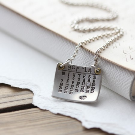 Personalised Silver Calendar Necklace