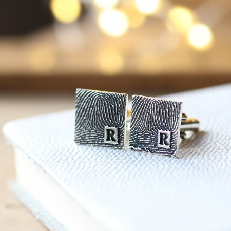 Inked Monogram Square Fingerprint Cufflinks