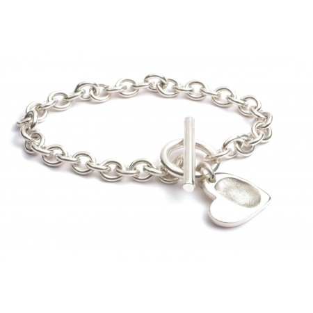 Heart FingerPrint  Charm T-Bar Bracelet