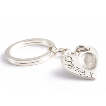 Large Heart FingerPrint Keyring