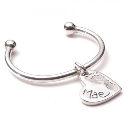 Heart Charm Ten Tiny Toes Torque Bangle