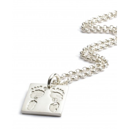 Ten Tiny Toes Square Charm on a Chain